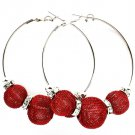 Red Earring Pin Catch Hoop Mesh Ball Rondelle Crystal Studs 2 3 4 Inch Drop / 53536-012RDRED