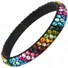 Multi Colored Bracelet Bangle Metal Casting Crystal Studs Texture 11 Mm Width 11312-997411BKMLT
