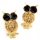 Brown Earring Post Earring Crystal Studs Owl Texture 20 Mm Talll 11315-2157GDBRO
