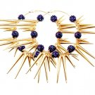 Purple Earring Pin Catch Hoop Celebrity Inspired Fireball Spikes Horns Various Size  11315-2181GDPUR