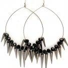 Black Earring Fish Hook Hoop Beads Spikes Various Spike Sizes 3 1 2 Inch Hoop 5 1 2  11315-2191BNBLK