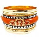 Brown Bracelet Bangle Stackable Various Hoops Filigree Porcelain Texture 2 Inch Wid 116112-4041GDBRO