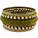 Green Bracelet Bangle Stackable Glass Stones Thread Various Hoops Patterns Texture 1 11622-0829TTGRN