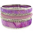 Purple Bracelet Bangle Stackable Crystal Studs Fabric Thread Metal Chain Texture 1 1 11622-0863RDPUR