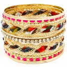 Fuschia Bracelet Bangle Stackable Fabric Interlaced Enamel Various Hoops 2 Inch Widt 11622-0936GDFSH