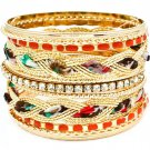 Orange Bracelet Bangle Stackable Fabric Interlaced Enamel Various Hoops 2 Inch Width 11622-0936GDORG