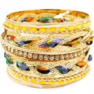 Yellow Bracelet Bangle Stackable Fabric Interlaced Enamel Various Hoops 2 Inch Width 11622-0936GDYEW