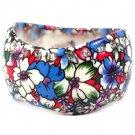 Multi Colored Bracelet Bangle Crystal Studs Porcelain Flower Print Unbalanced 1 1 2 I 11632-10433MLT