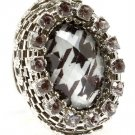 Animal Print Ring Adjustable Stretch Lucite Crystal Studs Metal Casting 1 3 4 Inch 1202018-9922RDANI