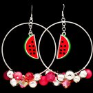 Pink Earring Fish Hook Beads Fruit Watermelon Crystal Studs Enamel 2 1 2 Inch Hoop 120205-99106RDPNK