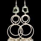 Clear Earring Fish Hook Beads Multiple Hoops Faceted Stone 4 Inch Drop 120205-99111MSCLR