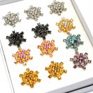 Multi Colored Ring Adjustable Crystal Studs Dozen Package Color Assorted 1 Inch Tall 121218-51410MLT