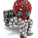 Red Ring Adjustable Stretch Crystal Studs Octopur 1 1 4 Inch Tall / 12141836-076BNRED