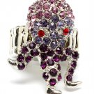 Purple Ring Adjustable Stretch Crystal Studs Octopur 1 1 4 Inch Tall / 12141836-076RDPUR