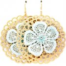 Teal Earring Fish Hook Threads Acrylic Stone Flower Filigree Rosette Texture 3 Inch 1214528-644MGTEL