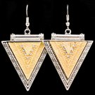 Gold Colored Earring Fish Hook Metal Casting Crystal Studs Triangular Shape Texture 1214528-728RDGOD