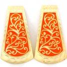 Orange Earring Post Earring Metal Casting Enamel Matte Finish 1 3 4 Inch Drop 1214528-827MGORG