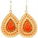 Orange Earring Fish Hook Crystal Studs Tear Drop Metal Casting Navette Formica Enam 1214528-852GDORG