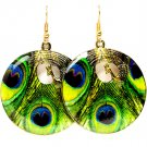 Green Earring Fish Hook Metal Casting Disk Peacock Peacock Print Texture 1 1 2 Inch 1214529-002AGGRN