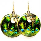 Green Earring Fish Hook Metal Casting Disk Peacock Peacock Print Texture 1 1 2 Inch 1214529-005AGGRN