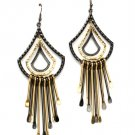 Black Earring Linear Drop Fish Hook Dangle Texture Tassel 4 Inch Drop 1214529-101TTBLK