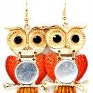 Orange Earring Fish Hook Owl Glass Stone Texture 2 Inch Drop 1214529-747GDORG