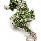 Green Ring Adjustable Stretch Crystal Stone Sea Horse Metal Casting 2 Inch Tall 1391827-061RDGRN
