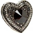 Black Ring Adjustable Stretch Glass Stone Crystal Studs Faceted Heart Texture 1 1 2 1391827-100SOBLK