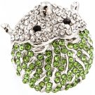 Green Ring Adjustable Stretch Crystal Studs Hedgehog Metal Casting 1 1 4 Inch Tall 1391827-115RDGRN