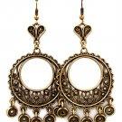 Gold Colored Earring Fish Hook Metal Casting Cresent Discs Heart Fringe Texture 2 1  139527-076BOGOD
