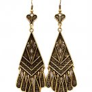 Gold Colored Earring Fish Hook Metal Casting Tear Drop Heart Fringe Texture 3 1 4 In 139527-083BOGOD