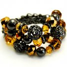 Brown Bracelet Stretch Glass Bead Metal Ball 142228-364BNBRO