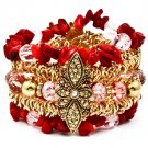 Red Bracelet Bangle Stretch Metal Casting Crystal Studs Mixed Bead Natural Stones Na 142228-496AGRED