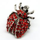 Red Pendant And Brooch Crystal Studs Beetle Texture 1 Inch Width 171316-30558RDRED