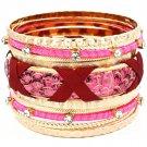 Fuschia Bracelet Bangle Stackable Faux Leather Crystal Studs Fabric Interlaced Meta 116112-2060GDFSH