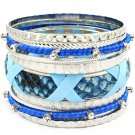 Blue Bracelet Bangle Stackable Faux Leather Crystal Studs Fabric Interlaced Metal C 116112-2060RDBLU