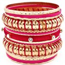 Fuschia Bracelet Bangle Stackable Crystal Studs Fabric Metal Casting Interlaced 2 3  11622-0997GDFSH