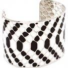 Black & White Bracelet Cuff Metal Casting Enamel 2 Inch Width 32233-041121RDBKW