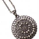 Black Necklace Pendant Crystal Studs Disc Filigree 1 Inch Pendant 18 Inch Long 113114-1425BNBLK