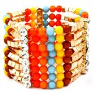 Multi Colored Bracelet Stretch Mixed Bead Crystal Studs Marbles 1 3 4 Inch Drop 116112-2088GDMLT