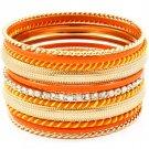 Orange Bracelet Bangle Stackable Crystal Studs Various Hoops 1 3 4 Inch Width 11612-1203GDORG