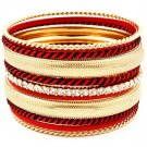 Red Bracelet Bangle Stackable Crystal Studs Various Hoops 1 3 4 Inch Width 11612-1203GDRED