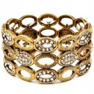 Clear Bracelet Stretch Crystal Studs Oval Metal Casting 1 Inch Width 11622-3019BOCLR