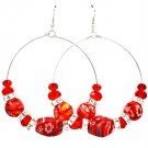 Red Earring Fish Hook Hoop RondelleBeads 2 1 2 Inch Drop 11625-0418RDRED