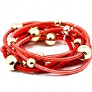 Red Bracelet Bangle Stackable Stretch Bead Metal Casting Spring 2 Inch Width 1214228-173GDRED