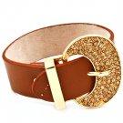 Brown Bracelet Faux Leather Crystal Studs Belt Shape 9 Inch Long 1214228-277GDBRO