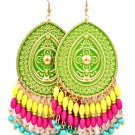 Green Earring Fish Hook Tear Drop Painted Mixed Bead Formica 3 1 2 Inch Drop 13135-1528GDGRN