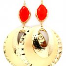 Red Earring Oversized Fish Hook Stud Navette Oval Cresent Formica 4 1 4 Inch Drop 1965-99206GDRED