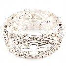 Silver Colored Bracelet Stretch Tear Drop Navette Texture 1 Inch Width 210152-03169SVSIV