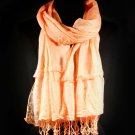 Peach Fashion Scarf Solid Crinkle Scarf With Lace Tassel 100% Polyester 21 Inch X 68  21316-99094PEA